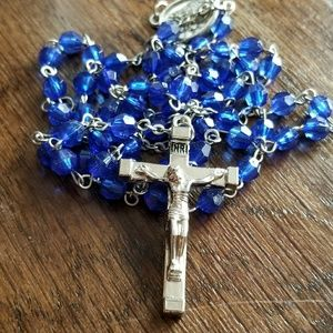 Blue crystal rosary silver tone